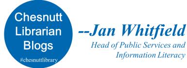 Chesnutt Librarian Blogs, Jan Whitfield
